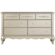 Evolur Aurora 7 Drawer Double Dresser, Gold Dust