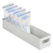 mDesign Baby Food Organiser Bin for Breast Milk Storage Bags/Formula - 41cm x 10cm x 7.6cm , Light Grey
