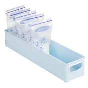 mDesign Baby Food Organiser Bin for Breast Milk Storage Bags/Formula - 41cm x 10cm x 7.6cm , Robin Egg Blue
