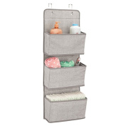 mDesign Over Door Fabric Baby Nursery Closet Organiser for Stuffed Animals, Nappies, Wipes, Towels - 3 Pockets, Linen