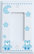 Blue Teddy Bear Light Switch Plate Single Rocker with Blue Moon and Stars / Teddy Bear Nursery Decor