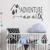 BATTOO Adventure awaits Wall Decal Quote- Wanderlust Decal- Adventure Stickers- Home Wall Stickers- Wanderlust Wall Stickers Adventure Wall Decals