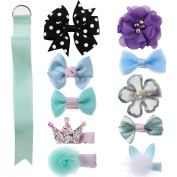 VGLOOK 10 Pcs Baby Girl Hair Bow Hair Clips With 1 Pcs Bow Holder for Baby Girl Toddler Newborns
