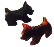 Parcelona French Dog Small Celluloid Acetate Black Tortoise Shell Brown Automatic Hair Clip Hair Barrette - 5.1cm