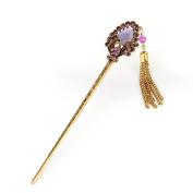 Yishenyishi Women Girls Hair Stick Vintage Hair Chopsticks Hairpin Peacock Crystal Hair Clip Hair Pins