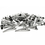 Goege 6CM Clips Silver Metal Alligator Teeth Prongs Hair Clips for Hair Care, Arts & Crafts Projects, Dry Hanging Clothing, Office Paper Document Organisation,100 Pieces