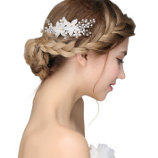 Clear Crystal Flower Pearls Hair Side Combs Bridal Wedding Headwear Jewellery Accessories for Women Styling