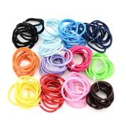 Bingirl 120 Pieces Mix Colours High Elastic Hair Ties Bands Supply Ponytail Holders Hair Rope Rubber Elastic Tie DIY Hair Accessories Hair Bow