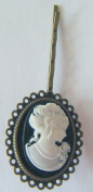 Victorian Lady Cameo Antique Bronze Hair Pin -7cm