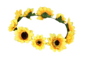 Merroyal Sunflower Boho Hippie Festival Flower Crown Headband Handmade