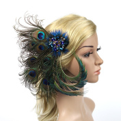 Meiliy Peacock Feather Hair Clip Pin Crystal Feather Hair Accessory for Bridal Wedding Dance Party