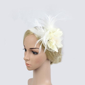 Meiliy Silk Flower Feather Headband Fascinator Hats For Wedding Performance and Party, White
