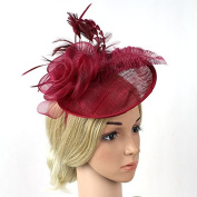 Meiliy Sinamay Fascinator Hat with Headband Mesh Feather Hair Clip For Wedding Performance and Party, Wine Red