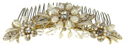 Enchanting Wedding Bridal Comb of Freshwater Pearl Flowers and Rhinestone-Encrusted Leaves, and Adorned with Wired Crystal Beads for Wedding, Prom, Quinceañera or Other Special Events