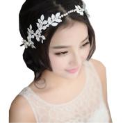 BININBOX Vintage Wedding Hair Pearl Crystal Leaf With Bead For Women Bridal Bridesmaids Headpiece Head Band Accessorie