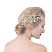 BININBOX Vintage Wedding Hair Combs Crystal Leaf With Bead For Women Bridal Bridesmaids Headpiece Head Band Accessorie