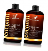 ArtNaturals Coconut-Lime Shampoo and Conditioner Set – (470ml X 2) - Replenishing Hydration - Deep Moisturising For All Hair Types – Coconut, Lime, Aloe Vera and Rosehip