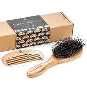 Boar Bristle Hair Brush with Detangle Pins and Bamboo Handle, Included Wooden Comb for Hair Detangling, Natural Boar Bristles Make Hair Shiny and Silky, Set Comes in an Eco-Friendly Box