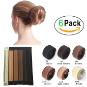 LQZ(TM)6 Pcs Different Colours Bun Maker DIY Women Hair Bun Making Tool Girls Styling Twist Donut Bun Hairstyle Tool 6 shades