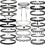 WILLTOO 22Pieces Classic Lace Choker Stretch Velvet Gothic Tattoo Necklace Set