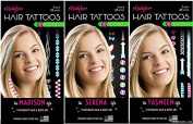 3 Pack Maddyloo Temporary Hair & Body Tattoos - Fun GLOW IN THE DARK Collection - Gorgeous Art for your Hair & Skin OVER 300 tattoos on 6 separate tattoo sheets!