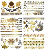 Premium Metallic & Colour Tattoos for Kids and Adults - 75+ Shimmer Colourful Designs in Gold Blue, Red, Silver, Green