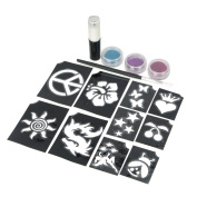 3PCS DIY Decoration Tools Shimmering Glitter Powder Dust for Body Tattoos