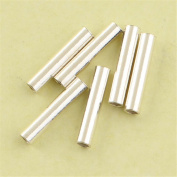 MFMei Sterling Silver Cylinder Tube Links, Smooth Hanger Links, 10mm
