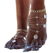 One Pair, Golden Punk Metal Tassels Coins Body Foot Anklets Chains