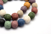 52pc Earth Tone Lava Rock Beads- Round Dyed- 1 Strand 8mm