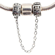 Star and Leaf Clasp Safety Chain Charm 925 Sterling Silver Clip Stopper Charm Spacer Charm for Pandora Charm Bracelet