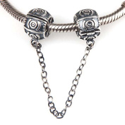 Circle Clasp Safety Chain Charm 925 Sterling Silver Clip Stopper Charm Spacer Charm for Pandora Charm Bracelet