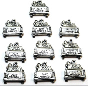 "Set of Ten (10) Silver Tone Pewter Car with ""Just Married"" Sign Charms -5374"