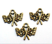 Set of Three (3) Gold Tone Pewter Chequered Race Flag Charms