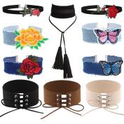 Tpocean 10 PCS Blue Wide Denim Jeans Punk Chokers Set Embroidery Black Velvet Long Tassel Pendant Red Rose Floral Cute Necklaces for Women Girls Teen