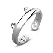 Hunputa Women's Cute Sterling Silver Dragon Cat Opening Mouth Ring, Simple Wedding Finger Rings