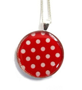 Red and white polka dot necklace, polka dot jewelery, retro polka dot necklace, polka dots, gift for her, red, white