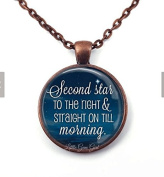 Quote Necklace - Second Star to the right and straight on till morning - Literary Quote Pendant -