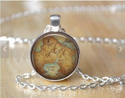 Neverland Map Pendant - Book Necklace - Pendant - Glass Dome Necklace - Fairy Tale - Once upon a time