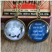 """Inspired """"Second star to the right ..."""" double sided quote Necklace"""