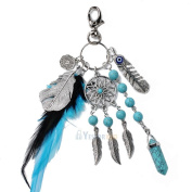 Dream Catcher Keyring Charm Pendant Purse Bag Key Ring Key Chain Car Keychain 6# Natural Turquoise Dream