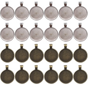 Dcatcher 24 PCS Bezel Pendant Trays Round Cabochon Settings Trays Pendant Blanks, 25mm Diameter, Antique Brass and Silver Colour
