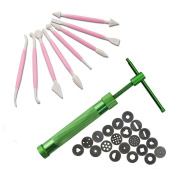 Asayu Paste Extruder Clay Sugar Craft Fondant Cake Gun Cake Sculpture Décor with 8 Pieces Pink Plastic Crafts Clay Modelling Tools