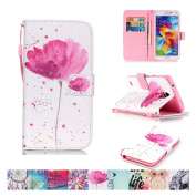 Galaxy S5 Case, Firefish [Kickstand] Flip Folio Wallet Cover Anti-Scratches Protective Shell with Cards Slots Magnetic Closure for Samsung Galaxy S5