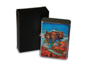Chrome Windproof Lighter Oil Refillable Retro Western Indians bear Landscape