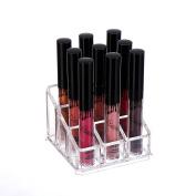 Acrylic Lip Gloss Makeup Organiser, 9 Spaces - Clear