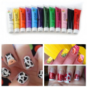 12 Colours Acrylic 3D Paint Nail Art Painting Pigment Tips Set