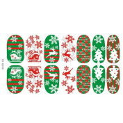WISHNAIL Christmas Nail Art Stickers 3D Design Manicure Tips Decals Wraps Decoration