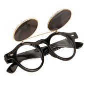 Mchoice Steampunk Goth Goggles Glasses Retro Flip Up Round Sunglasses Vintage