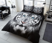 Duvet Cover Set King Size Bed 3d Animal Print Quilt Bedding Sets With Pillow Cases Poly Cotton, Face Tiger White